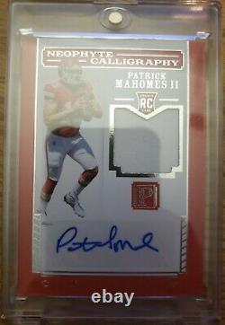 2017 PANTHEON PATRICK MAHOMES CALLIGRAPHY JERSEY ROOKIE AUTO #19/49! WOW Read