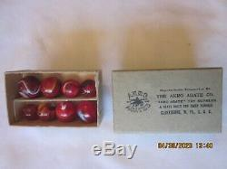 RARE AKRO AGATE BOX (3 1/8 x 1 15/16 x 1) With EIGHT NEAR MINT TO MINT MARBLES