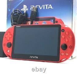 SONY PS Vita PCH-2000 Slim Metallic Red FW3.65 with Charger, Box Near Mint