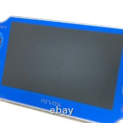 SONY PS Vita Sapphire Blue PCH-1000 Wi-Fi OLED with Charger, Box Near Mint