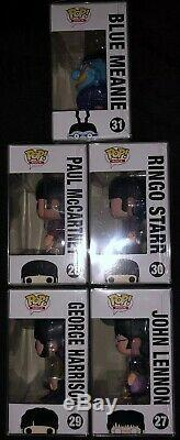 ULTRA RARE Set Beatles Funko Pop In Clear Protective Cases Boxes Are Near Mint